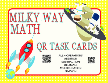 Milky Way Math- All Operations Basic Skills Practice (24 QR Cards)