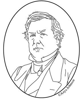 Millard Fillmore (13th President) Clip Art, Coloring Page or Mini Poster