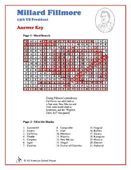Millard Fillmore - Presidents Word Search and Fill in the Blanks