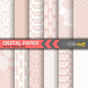 Millennial Pink Elegant Patterns Digital Paper Pack
