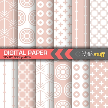 Millennial Pink Geometric Digital Paper Pack