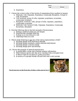 Miller Levine Textbook Quiz section 1-3 Properties of Living Things