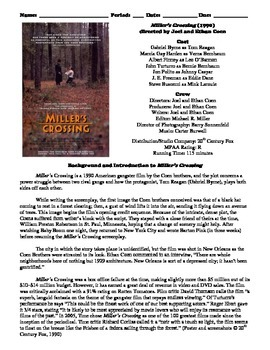 Miller's Crossing Film (1990) Study Guide Movie Packet