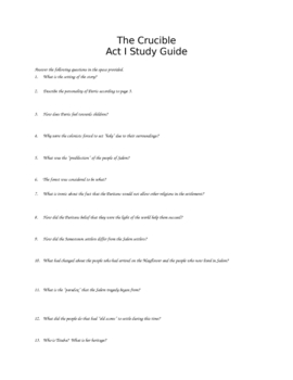 Miller's The Crucible Act I Study Guide