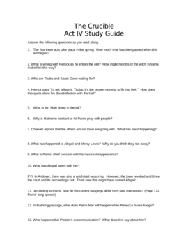 Miller's The Crucible, Act IV Study Guide