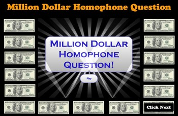 Million Dollar Homophone Questions Game