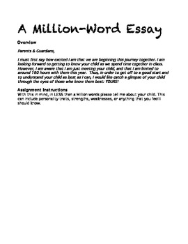 million word essay beginning of year parent communication by  million word essay beginning of year parent communication