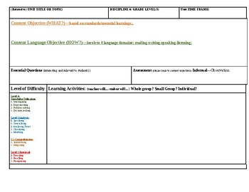 Blank Lesson Plan Template + Exemplar Lesson Plan
