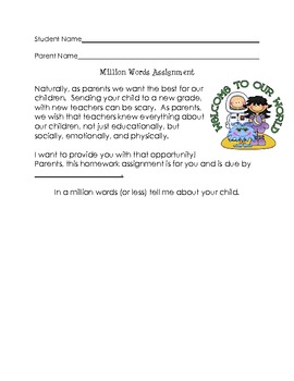 Million Word (or less) Parent Assignment