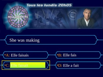 French Teaching Resources. Millionaire Game: Present, Perf, Future, Conditional.