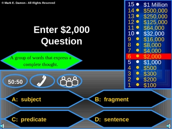 Millionaire Grammar Game