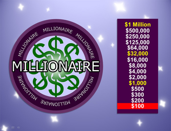 Millionaire powerpoint template plays like who wants to for Who wants to be a millionaire blank template powerpoint