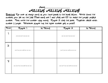 Millions, Millions, Millions Game - Place Value, Word form, Multi-digit Numbers