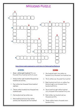 FREE Reading and Writing Millions & Puzzle
