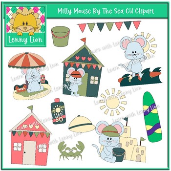 Milly Mouse By The Sea CU Clipart