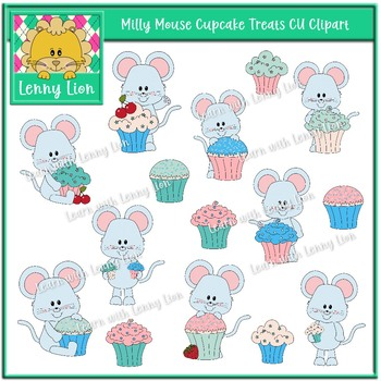 Milly Mouse Cupcake Treats CU Clipart