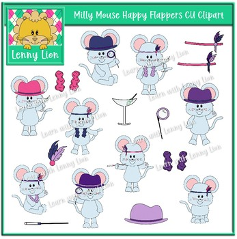 Milly Mouse Happy Flappers CU Clipart