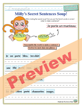 """Unscramble Milly's Sentence Soup to Form Sentences with """"Porter"""" in French!"""