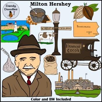 Milton Hershey Clip Art by Dandy Doodles
