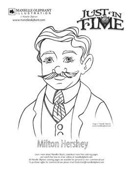 Milton Hershey Coloring Page for Pennsylvania