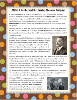Milton Hershey & Hershey Chocolate Company Informational Passage with Questions