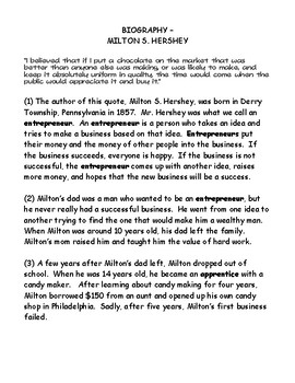 Milton S. Hershey Biography and Find the Evidence Sheet