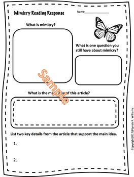 Mimicry Lesson With Informational Text Article NGSS 3-LS4-2