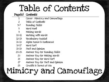 Mimicry and Camouflage 4th Grade - Harcourt Storytown lesson 11