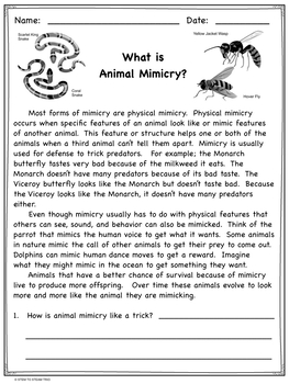 Mimicry in Animals:  3-LS4 and 4-LS1