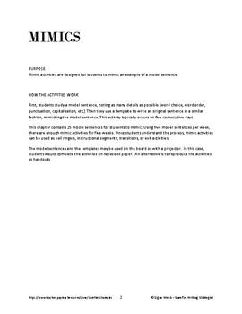 Mimics: Grammar, Usage, and Mechanics Writing Activities/Bell Ringers