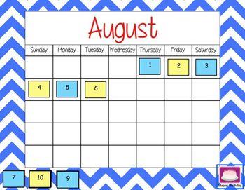 Mimio August Calendar Morning Meeting