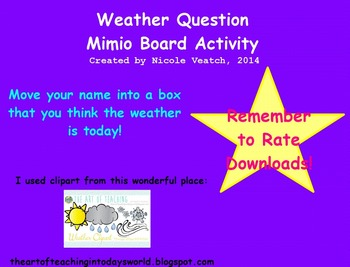 Mimio Weather Question/Attendance