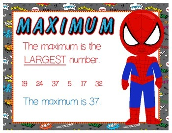 Min-Max-Median-Mean-Mode-Range Posters - Superhero Themed