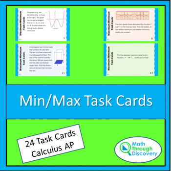 Calculus:  Min/Max Task Cards