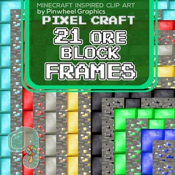 Minecraft Clip Art Pixel Craft Block Frames 85 X 11