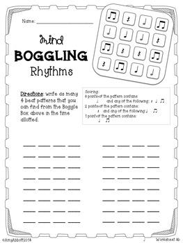 Mind Boggling Rhythm Games & Worksheets: half note version