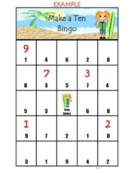 Surf Theme Make a Ten Bingo