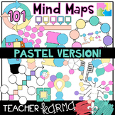 Mind Maps * 101 Graphic Organizers * Pastel Clipart - FREEBIE in preview