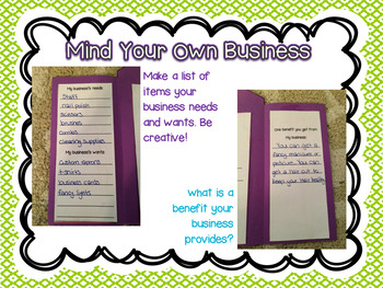 Mind Your Own Business - An Economics Craftivity