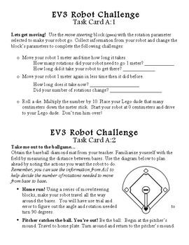 LEGO MindStorm critical thinking EV3 Robot Challenge Task Cards Set A