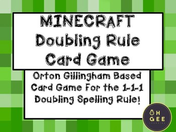 Minecraft Doubling Rule Card Game- Orton Gillingham Aligned