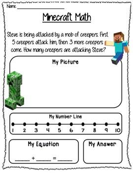 Mindcraft math freebie