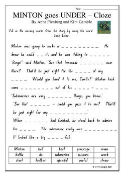 Minder goes Under - Literacy Tasks