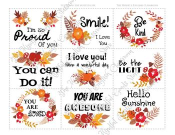 Mindfulness Activities -Positive Affirmation Cards. Fall Lunch Box Notes. RAK.