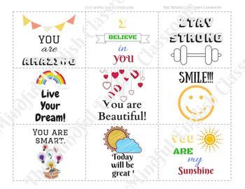 Mindful Activities - Positive Affirmation Cards.  Lunch Box Notes. RAK Cards.