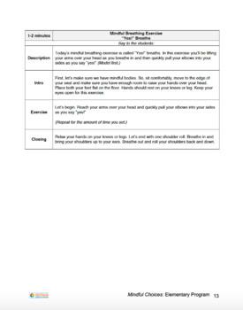 Mindful Choices: Elementary School Program