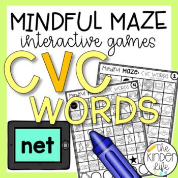Mindful Maze Digital Task Cards CVC Words Interactive Vocabulary Builder