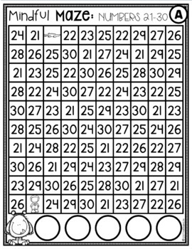 Mindful Maze Digital Task Cards Numbers 21-30 Numerals and Base Ten Blocks