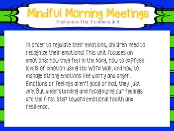 Mindful Morning Meetings:  Emotions