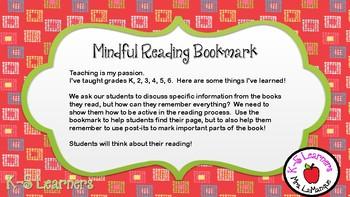Mindful Reading Bookmark